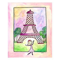 "oh how cute kids - Nursery Wall Decor Girl in Paris  ready to hang canvas, 18 X 24 Paris Girl Ready - ""Bonjour"""