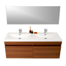 Fresca - Largo Teak Vanity w/ Wavy Double Sinks Cascata Brushed Nickel Faucet - Striking in its simplicity, this double sink vanity offers modern sophistication to your bathroom.  It also features uniquely designed chrome faucets and special pull out drawers.  Its large sink has a unique wavy bottom for splash of fun.  Many faucet styles to choose from.