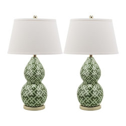 Safavieh - Avant Garde Table Lamp, Set of 2 - Graphic and contemporary, the Avant Garde  lamp's distinctive pattern can be traced as far back as artist wood prints of the Middle Ages.  Completely updates the motif, covering the porcelain two-gourd form with the striking motif in chic fashion shades of green and white.