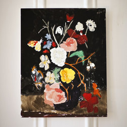 Still Life With Flowers & Moth By Bella Foster - This beautiful still life, by Bella Foster, will add drama to any space.