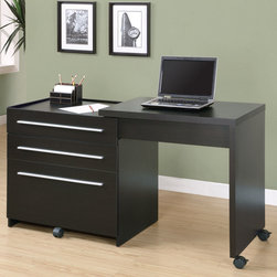 """Monarch - Cappuccino Slide-Out Desk With Storage Drawers - This sleek contemporary workstation offers a compact work space that is ideal for apartments, condos, or small homes. With clean lines in a bold dark finish, this desk will blend easily with your home decor. The top surface extends to the side, with casters at the base for easy mobility, creating a knee hole space for comfortable seating at this desk. A storage space is revealed to keep your desk supplies organized, with a medium storage drawer and convenient lateral file drawer below. Add this desk to your home for a functional workstation, where ample storage options, excellent functional features, and sophisticated style come together.;Features: Color: Cappuccino;Weight: 114 lbs.;Dimensions: 30""""L x 21.5""""W x 30""""H"""