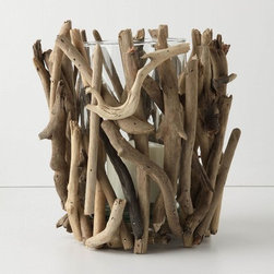 "Driftwood Hurricane - Anthropologie.com - We're suckers for fun uses of driftwood over here at Houzz. Whether it's a driftwood lamp, a driftwood coffee table base, or, well, just a piece of found driftwood, it's all good. So we're gaga over this groovy little driftwood covered hurricane.     * Wood, recycled glass    * 10""H, 8"" diameter    * Imported      $38.00"