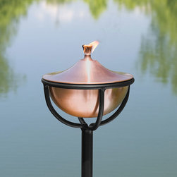 Artisan Copper Garden Torch with Chalice Floor Stand - Antique Copper - The simplistic design of the Artisan Copper Garden Torch with Chalice Floor Stand will complement any outdoor living area. Functional and beautiful, this addition to your yard will provide light and help repel bothersome insects.