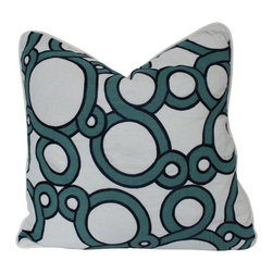 The Pillow Studio - Teal and Navy Conundrum Pillow Cover with Ivory Piping - Fabrics: