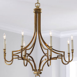"""VISUAL COMFORT - VISUAL COMFORT """"Le Petite"""" Chandelier - Handcrafted of brass with an antiqued finish, this petite chandelier features a stunning mixture of curves and angles with eight softly glowing candle-style lights. Uses eight 60-watt bulbs. Professional installation recommended. Hanging hardware and..."""