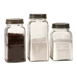 Imax Corp - Dyer Glass Canisters, Set of 3 - With a vintage flair, the Dyer glass canisters hold flour, sugar and coffee on any countertop or pantry shelf in style. Food safe.