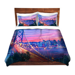 DiaNoche Designs - Duvet Cover Microfiber - San Francisco Nights - Super lightweight and extremely soft Premium Microfiber Duvet Cover in sizes Twin, Queen, King.  This duvet is designed to wash upon arrival for maximum softness.   Each duvet starts by looming the fabric and cutting to the size ordered.  The Image is printed and your Duvet Cover is meticulously sewn together with ties in each corner and a hidden zip closure.  All in the USA!!  Poly top with a Cotton Poly underside.  Dye Sublimation printing permanently adheres the ink to the material for long life and durability. Printed top, cream colored bottom, Machine Washable, Product may vary slightly from image.
