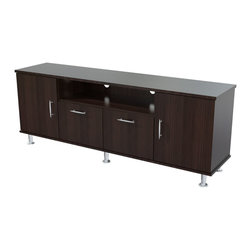 Inval America - Elegant 60 Inches Flat-Screen TV Stand - This TV stand would be a sophisticated addition to any room. With four storage doors and a cable management pass-through it will be easy to stay organized.