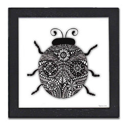 Ladybug Pen & Ink - The Hummingbird Pen & Ink is a print of the original by Pamela Corwin. The tiny intricate patterns in these works create wonderfully detailed graphic designs. Framed in a classic black frame and available in two sizes, this handsome print will fit in any room .