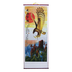 Oriental-Décor - Red Sun Eagle Chinese Scroll - A red eagle is swooping down from the heavens with a red sun as his backdrop. Below is a verdant forest and a raging ocean. In the Chinese tradition, the regal eagle is a symbol of a person's ambition, and his capacity to reach for new heights to achieve his dream. Crafted using ink print on rattan wood, the Red Sun Eagle Chinese Scroll is a perfect gift for someone with a bright future ahead of him. Whether it is for your boss, co-worker, or your child who has just graduated from college, this is a great symbolic gesture for people who are meant to make something of themselves. Let them know that you think that highly of them. Hang the Red Sun Eagle Chinese on your living room or your company's boardroom as an eternal reminder of what it means to fly high and soar like these beautiful birds of prey.
