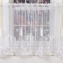 Renovators Supply - Curtains White Polyester Tier Curtain Jacqard Lace 1 panel 60x30 - Tier Curtains. Made beautifully in the US of white fine gauge jacquard lace 100 percent polyster. Measures overall 60 in. W x 30 in. drop to fit a window 48 in. W x 27 H. Each panel sold individually. Machine wash warm, gentle. Tumble dry until damp, then line dry. Do not bleach. Flower garden motif with birdhouses.