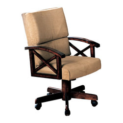 Coaster - Game Chair with Beige Upholstry and Cherry Wood - This cushioned game chair provides comfortable seating while playing cards or gathering for meals. The beige chenille upholstery paired with the brown cherry finish on the arms and base also coordinate seamless with virtually any decor.