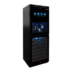 Vinotemp - Dual-Zone Wine Dispenser and Cooler - Free-standing installation. Fits 34 bottles in the upper zone and 54 bottles in the lower zone. 23.5 in. W x 22.38 in. D x 63.63 in. H (250 lbs.). Lead time: 3 to 5 days. Dispenses chilled single servings from four open bottles. Argon or nitrogen gas keeps wine fresh for several weeks. Dual-zone stores red and white wines at separate temperatures. Bottle - stopper and dispenser parts are FDA approved. Front exhaust allows for free-standing or built-in installations. Touch-screen control panel. Blue interior LED light. Dual disposable and refillable gas systems. Temperature range: 40�-65� F. Ideal for home or commercial use. WarrantyVinotemp�۪s Dual-Zone Wine Dispenser and Cooler combines the convenience of a wine dispenser with the storing capacity of a wine cooler.