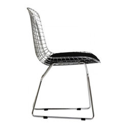 Poly + Bark - Bertoia Style Wire Chair, Black - The distinctive Wire Chair, designed by Harry Bertoia in 1952, is a fascinating feature of any room. The curves of the chair, formed of welded steel latticework, create a modern look and ensure seating comfort. The Leatherette cushion complements the elegant, shiny metal frame. The Italian designer had an extensive interest in the technical execution of bent rods, which resulted in his unique and appealing design classics.