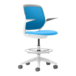 Steelcase - Steelcase Cobi Stool, White Frame w/Arms & Standard Casters, Blue Jay - If you want to be productive, get comfortable. This chair is so well-designed — with automatic, intuitive adjustments and multiple posture support — it's as beneficial to your brain as your body. You'll buckle down as soon as you sit and will be so busy, time will fly. The fact that it comes in so many cool colors? Consider it a perk!