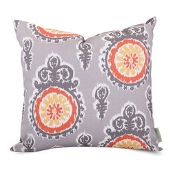 Majestic Home - Outdoor Citrus Michelle Large Pillow - Add a splash of color and a little texture to any environment with these great indoor/outdoor plush pillows by Majestic Home Goods. The Majestic Home Goods Large Pillow will add additional comfort to your living room sofa or your outdoor patio. Whether you are using them as decor throw pillows or simply for support, Majestic Home Goods Large Pillows are the perfect addition to your home. These throw pillows are woven from Outdoor Treated polyester with up to 1000 hours of U.V. protection, and filled with Super Loft recycled Polyester Fiber Fill for a comfortable but durable look. Spot clean only.