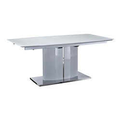 Creative Furniture - Blanch White High Gloss/Chrome Extendable Dining Table - Host a large dinner party without anxiety with this modern and stylish Blanch White High Gloss/Chrome Extendable Dining Table. With a high gloss MDF top, this table easily extends with the extra leaf.    Features: