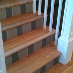 """white oak plank floor stairs - 5"""" x 3/4"""" solid White Oak, wire brushed, oil finished plank floor. Color natural. This floor is pre finished with the WOCA UV oil from Denmark."""