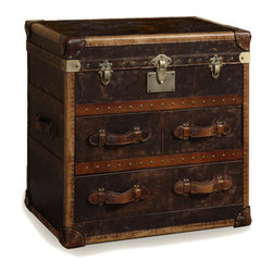 Vintage Steamer Side Table with 3 Drawers - Our reproduction of old time luggage trunks.Vintage leather with aged patina, canvas-lined 2 drawers, leather-bound corner brackets, leather-wrapped handles, wood slats with aged