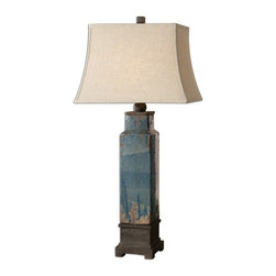 "Silver Nest - Coastline Table Lamp - 38""h - Ceramic base finished in a distressed blue glaze with sandstone undertones and dark rustic bronze details. The rectangle bell shade is a khaki linen fabric with natural slubbing."