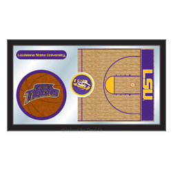 "Holland Bar Stool - Holland Bar Stool Louisiana State Basketball Mirror - Louisiana State Basketball Mirror belongs to College Collection by Holland Bar Stool The perfect way to show your school pride, our basketball Mirror displays your school's symbols with a style that fits any setting.  With it's simple but elegant design, colors burst through the 1/8"" thick glass and are highlighted by the mirrored accents.  Framed with a black, 1 1/4 wrapped wood frame with saw tooth hangers, this 15""(H) x 26""(W) mirror is ideal for your office, garage, or any room of the house.  Whether purchasing as a gift for a recent grad, sports superfan, or for yourself, you can take satisfaction knowing you're buying a mirror that is proudly Made in the USA by Holland Bar Stool Company, Holland, MI.   Mirror (1)"