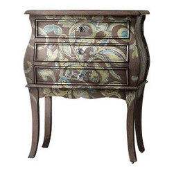 Silver Nest - Whimsy Accent Chest - Can earthy and pretty co-exist? The Whimsy Accent Chest proves it with a green paisley pattern against a woodsy brown painted finish punctuated by curved legs. Three drawers.