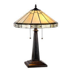 "Chloe Lighting - Arts & Crafts Belle Stained Glass Table Lamp - The Arts & Crafts Belle Stained Glass Table Lamp is 22.60"" in height. The resin base is 18.40"" x 7"" with a dark antique bronze finish. The shade is 6.90"" in height x 15.90"" wide. It is handcrafted with 56 pieces of lead-free stained glass using the ""copper foil"" technique, a method made popular by Louis Comfort Tiffany that involves wrapping the pieces of glass with copper foil and soldering them together along the length of the seams. Each example of the lamp will have unique aspects as no two pieces of glass have the exact same texture, color, shape or clarity. These differences are characteristic of hand crafted panels or lamps using this technique. Two pull chain light switches. Uses two 100W max E26 Type A Bulbs."
