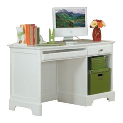 Homelegance - Homelegance Morelle Writing Desk in White - The warmth of cottage living is invoked by the classic styling of the Morelle collection . The collection is designed with many features perfect for today s casual lifestyle such as a low post bed with simple picture framing and round finials plus molded drawer fronts and satin nickel knobs on the case pieces. The addition of a pull out trundle and toy box offerings further the functionality of the collection . The ability to choose from twin, full, queen, California king and Eastern king bed sizes makes this group perfect for youth bedrooms, guest bedrooms or master bedrooms. Adding to the versatility are two distinct painted finishes, black and white.