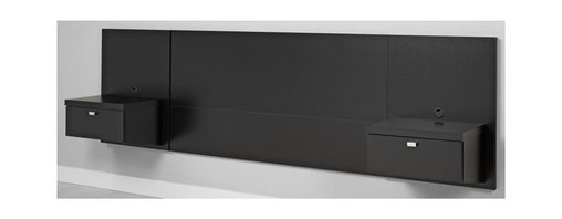 Prepac - Black Queen Nightstand Headboard - Drawers for out-of-site storage. Surface for reading lamp and favorite books. Adjustable height. Suitable for queen size beds. Mount at any height with the hanging rail system. Nightstand has a removable plastic grommet for wire management. Weight capacity: 35 lbs.. Warranty: Five years. Made from CARB-compliant laminated composite woods. Black finish. Made in North America. Drawer: 16.5 in. W x 13 in. D x 5 in. H. Overall: 107.25 in. L x 16.5 in. W x 31.5 in. HThis 3 in 1 floating headboard with two nightstands maximizes your available floor space with its elevated, off the floor design. With a focus on simplicity and functional storage, this unit creates a modern and sleek bedroom. To maintain its clean lines, both nightstands has hidden wire management for lamp cords, alarm clock cords or phone chargers.