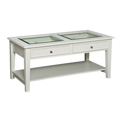 Holly & Martin - Somerset Cocktail Table, White - This coffee table has all the character and warmth that only a well-designed wooden table can offer, but has the added bonus of being unusually functional. Keep coffee rings off your favorite art coffee table book by storing it behind the protective glass, and stack books, board games and more on the convenient bottom shelf.