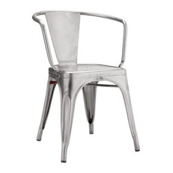 Tolix - Tolix Marais A56 Armchair - Metalworker Xavier Pauchard not only brought the art of galvanizing steel to France, but took the process to the next level by creating the Marais A Chair (1934), the quintessential cafe chair that was both elegant and robust enough to grace the decks of the S.S. Normandie ocean liner. After the sudden death of Pauchard in 1948, his son Jean took over as managing director of their company, Tolix. In 1956, he designed an armchair to go with his father's Marais A, naming it the A56, and hence created another 20th century classic. All Tolix metal furniture is still made in Autun, the same Burgundy town where it all began. Slight surface abrasions and markings are characteristic of the material and part of its hardworking machine aesthetic. Rubber feet prevent damage to floors. The Marais Collection will stand up to the rigors of public use, but should be protected from wet weather conditions to maintain the finish. Stackable up to 10 high. Made in France. Colors are DWR Exclusive.