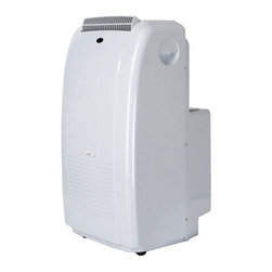 SPT Appliance - Sunpentown 11000 BTU Dual-Hose Portable AC Sy - 3-in-1 Technology: 11,000 BTU cooling power, Dehumidifier, Fan. Self evaporating technology. LCD display on remote and control panel. SMART Technology. Re-start IC Technology (unit restarts when power resumes after a power failure). 24-hour programmable timer. 3 fan speeds: Auto - High - Low. Fire resistant PVC plastic housing. Auto-swing louvers. Washable air filter collects dust particles. Easy-grip handle and casters for easy mobility. Digital thermostat control. Choice of programmable timer or continuous operation. Extendable exhaust hose (up to 5.5 ft.). Built-in water tank or extended water tube for continuous drainage. Limited 1 year warranty. UL approved. Power consumption: 1253 W. Amperage: 10.9A. Air volume (CFM): 176. Moisture removal: 51 pints/day. Operating temp: 64 ~ 110�F. Thermostat: 64 ~90�F. Control: Digital with LCD. EER: 8.78. dB (High / Low): 51 / 49.5. Power supply: 115V / 60Hz. Max room size: 350 sq. ft.. Timer: 1 ~ 24 hours. Fan speeds: 3 (Auto - High - Low). Compressor: Rotary. Refrigerant / Load: R22 / 1.4 lb. Exhaust pipe max length: 5.5 ft.. Exhaust pipe diameter: 5.25 in.. Window: kit material: Plastic slider kit. Window kit length: Min: 28.25 in. / Max: 81.5 in.. 18 in. L x 18.5 in. D x 33.5 in. H (82 lbs.)This 11,000 BTU, 3-in-1 system provides multi-season comfort. Designed to efficiently cool and dehumidify any space without permanent installation. Effectively improves air circulation in poorly ventilated spaces. Dual hose systems provide fast cooling. With one hose for air intake and the other for air exhaust, there is no negative pressure created inside the room.Self-Evaporating Technology - during the cooling process, water is extracted from the air into the unit. Most of this water is recycled and used to cool the cooling coils. This creates improved cooling efficiently without adding energy cost. The moisture is then pushed out with the exhaust air, leaving you a virtually no-drain unit. In extreme humid conditions, if condensation collects faster than the unit can evaporate, the excess water will collect in the built-in tank. When the tank becomes full, compressor will automatically shut-off and unit will indicate that drainage is needed.Note: Exhaust hose installation required (all standard accessories included). Included plastic slider kit forms up to 6.75 ft.