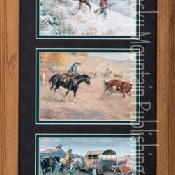 Rocky Mountain Publishing - Huntin' Cuttin' And Cuffin', Clark Kelley Price Western Art - Western  life  is  clearly  seen  in  this  fantastic  triple  piece  of  Western  Art  called  Huntin'  Cuttin'  and  Cuffin'  Triple.  A  three-painting  set  by  artist,  Clark  Kelley  Price  depicting  images  of  various  activities  that  were  part  of  everyday  life  in  the  west.  You'll  see  a  cowboy  and  his  horse  as  they  head  home  from  the  hunt,  cutting  a  steer  from  the  herd  during  roundup,  and  the  arrest  of  a  thief.  With  a  backdrop  of  some  beautiful  landscapes  and  mountain  scenes  this  western  artwork  shows  fine  detail  with  distinct  colors  and  lighting.  It  is  truly  a  great  western  painting.                  Dimensions:  Glass  and  Matting  10x20;  Exterior  frame  dimensions  approximately  16x26  inches.              Glass  and  double  mats  included              Treated  with  an  acid-free  sealant  to  protect  from  fading              Hanging  system  pre-installed              Artist:  Clark  Kelley  Price;  Allow  2  weeks  for  shipping