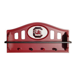 Fan Creations - Fan Creations Collegiate Shelf with Pegs - C0523_ALABAMA - Shop for Wall Hooks Racks and Shelves from Hayneedle.com! Display prized possessions while showing off some team spirit with the Fan Creations Collegiate Shelf with Pegs. This beautifully crafted shelf is made from medium-density fiberboard that's been painted in your favorite NCAA team's colors plus it features the officially licensed logo right in the center. Hang coats jackets and hats from the 4 pegs and let everyone know that sports fans are welcome in this home! Measures 21L x 10.75W x 5H inches.About Fan Creations Fan Creations are in this business because they love their teams too. With a wide range of licensed furniture products wall decorations and more for fans of NFL college and other teams they're your source for gameday goodness.
