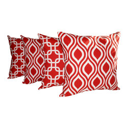 Land of Pillows - Nicole and Gotcha Rojo Red Outdoor Modern Decorative Throw Pillows - Set of 4, 2 - Fabric Designer - Premier Prints