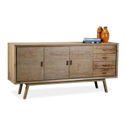 Interlude Home - Interlude Home Elsa Sideboard - This Interlude Home Sideboard is crafted from Wood  and Metal and finished in Whitewash and Antique Brass.  Overall size is:  71 in. W  x  18 in. D x 33 in. H.
