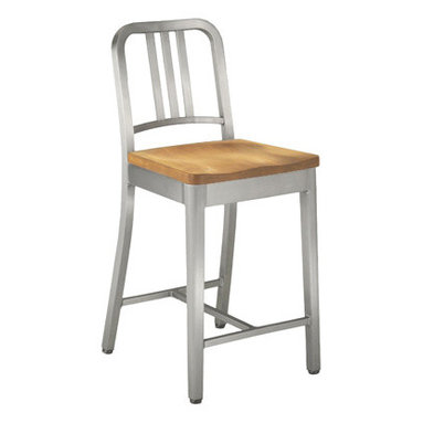 Army Brushed Aluminum Stool with Wooden Seat - Brushed aluminum, available in counter and bar height.