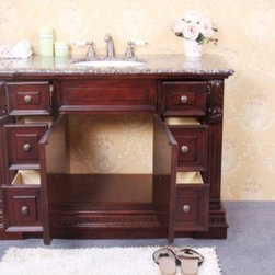 "KCK Bath Vanities - Sink Chests & Cabinets - WP5440C 48"" Single Sink Dark Cherry Vanity with Soft Close Doors - 48"" Single sink dark cherry vanity with soft close doors - No faucet"