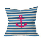 DENY Designs - Bianca Green Stay 1 Throw Pillow, 20x20x6 - Anchors aweigh! This pillow's blue and white stripes and hot pink emblem add a playful, nautical vibe to your beach house, bedroom or any room you need a little seafaring style. It's custom printed front and back on woven polyester, and features a zipper closure and insert for easy cleaning.