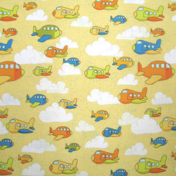 """SheetWorld - SheetWorld Fitted Crib / Toddler Sheet - Flying Airplanes Yellow - Made in USA - This luxurious 100% cotton """"woven"""" crib / toddler sheet features the cutest airplane print on a yellow background. Our sheets are made of the highest quality fabric that's measured at a 280 tc. That means these sheets are soft and durable. Sheets are made with deep pockets and are elasticized around the entire edge which prevents it from slipping off the mattress, thereby keeping your baby safe. These sheets are so durable that they will last all through your baby's growing years. We're called SheetWorld because we produce the highest grade sheets on the market today. Size: 28 x 52."""