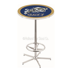 Holland Bar Stool - Holland Bar Stool L216 - 42 Inch Chrome Us Naval Academy (Navy) Pub Table - L216 - 42 Inch Chrome Us Naval Academy (Navy) Pub Table  belongs to College Collection by Holland Bar Stool Made for the ultimate sports fan, impress your buddies with this knockout from Holland Bar Stool. This L216 US Naval Academy (NAVY) table with retro inspried base provides a quality piece to for your Man Cave. You can't find a higher quality logo table on the market. The plating grade steel used to build the frame ensures it will withstand the abuse of the rowdiest of friends for years to come. The structure is triple chrome plated to ensure a rich, sleek, long lasting finish. If you're finishing your bar or game room, do it right with a table from Holland Bar Stool.  Pub Table (1)