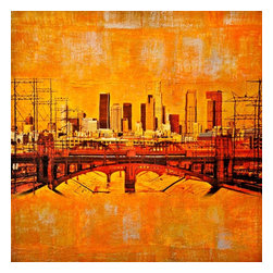 Los Angeles Emerging City, Original, Mixed Media - Mixed media art on wood panel (ready to hang) incorporating one of my photo montages of downtown Los Angeles printed on fine silk and collaged with paper and acrylic paint. This painting has an organic weathered look and was inspired by street art and by the way paintings murals and posters fade on the walls of the old buildings.