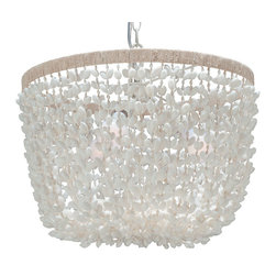 Kouboo - Inverted Pendant Lamp in Bubble Seashell, White - Illuminate your favorite setting with natural sparkle. This beautiful basket fixture is crafted from a hundred hand-set bubble seashells, sure to light and delight every time you turn it on.