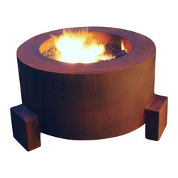 "Home Infatuation - Mini-Round Weathering Steel Fire Pit, Mini Round Pit for Logs/Natural Gas - This handcrafted outdoor fire pit is constructed entirely of 11 gauge Cor-Ten steel. Commonly called ""weathering steel"" it will develop a beautifully brown layer of rust when exposed to the weather."