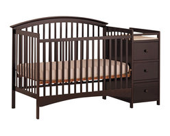 Stork Craft - Stork Craft Bradford 4 in 1 Convertible Espresso Crib Changer - Stork Craft - Cribs - 04586359 - The Storkcraft Bradford Stages 4-in-1 Fixed Side Crib with Changer shows polished refined lines that add to the sophistication of this crib making it the perfect piece for your nursery! Designed for multiple stages of life; it converts from a full size stages crib to a toddler bed to a daybed to a full-size bed. Full size bed rails not included.The attached changer is designed with safety in mind with an extra deep surface for added security and stability while changing your baby. Set-up this beautiful Bradford Stages Crib with changer effortlessly with its easy to follow directions. It is constructed of stunning solid wood and wood products offered in a selection of non toxic durable finishes. All four sides are stationary and include an adjustable one piece mattress support base to add to the security and stability of this charming crib.Complete your nursery look by adding an assortment of complimentary accessories: a chest dresser or glider and ottoman by Stork Craft. Stork Craft has been keeping babys safe for over 60 years. They are fully JPMA certified; a unique certification program and certification seal that help to guide parents towards the best products for their children.