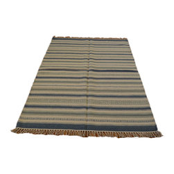1800GetARug.com - Flat Weave Hand Woven 4'X6' 100% Wool Shades Of Blue Durie Kilim Area Rug Sh6986 - Flat Weave Hand Woven 4'X6' 100% Wool Shades Of Blue Durie Kilim Area Rug Sh6986