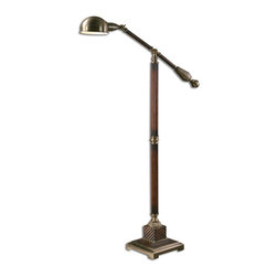 Dalton Floor Lamp - *This handsome floor lamp has a burnished wood tone finish with aged bronze metal detail.