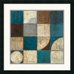 Amanti Art - Tango Detail I - Blue Brown Framed Print by Mike Schick - Bring a little simple chic into your decor! This contemporary abstract framed art print offers a staccato poetry of shape and tone.