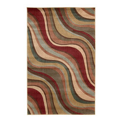 """Nourison - Nourison Somerset ST81 3'6"""" x 5'6"""" Multicolor Area Rug 00470 - Daring swerves and curves undulate and flow across this dynamic contemporary rug. Its luxurious pile, inimitable patina and a sensual color palette of cream, blue, green, gold, olive and crimson, all conspire to create a truly resplendent work of art."""