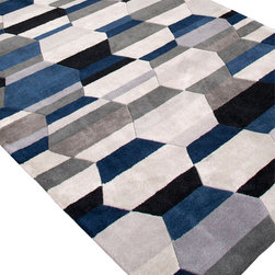 Jaipur Rugs - Hand-Tufted Durable Polyester Ivory/Blue Area Rug - Style and value strike a perfect balance in Fusion, one of Jaipur's popular collections of contemporary hand-tufted rugs. This spirited series is guaranteed to make a statement in any room, with unexpected color combinations and attention-grabbing patterns. The Fusion Collection proves that fashion-forward doesn't have to carry an expensive price tag. Origin: China